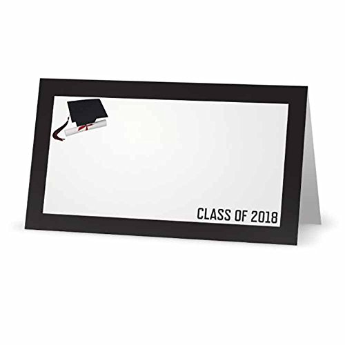 Stationery Creations Graduation Class of 2018 Black Place Cards - Folded Tent Style - 14 Pack - Available with or Without Printer Labels (NO Labels)