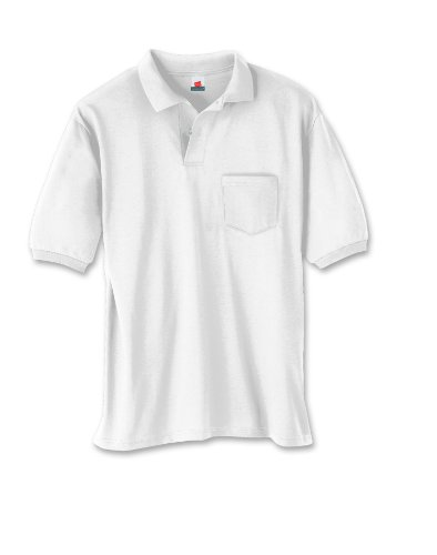 Hanes Men's 5.2 oz Hanes STEDMAN Blended Jersey Pocket Polo, L-White