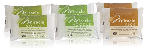 Miracle Noodle Shirataki Fettuccini, Angel Hair, & Rice Variety Pack, Gluten-Free, Zero Carb, Keto, Vegan, Soy Free, Paleo, Blood Sugar Friendly, 7oz (Pack of 6) -
