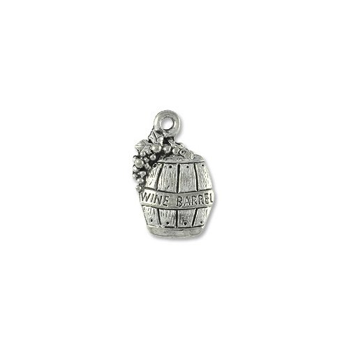 Charm for Jewelry Making - Wine Barrel w/ Grape 11x6mm Pewter A.S.P. (1-Pc)