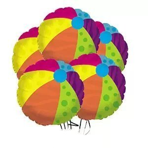 Beach Ball Balloon (18 Inch Mylar) Pkg/5