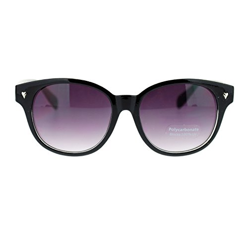 Womens Heart Nail Stud Round Thick Horn Rim horned Sunglasses Black - With Sunglasses Studs