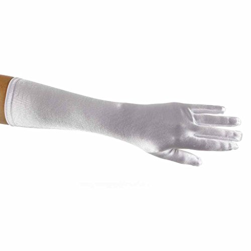 Showstopper Shiny Satin Elbow Length Gloves for Girls (White, 8-12)