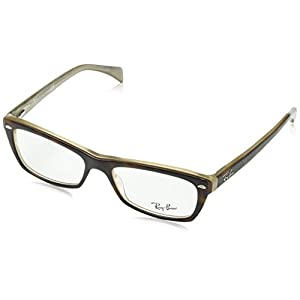 Ray-Ban Women's Rx5255 Square Eyeglasses,Top Havana & Transparen Beige,51 mm