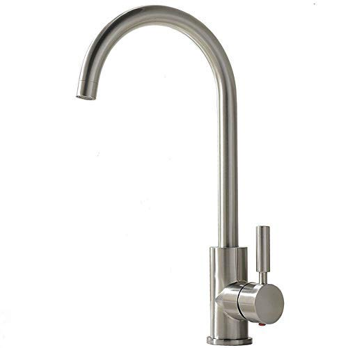 Comllen Best Commercial Brushed Nickel Stainless Steel Single Handle Kitchen Sink Faucet, Hot and Cold Single Lever Kitchen Faucets (Outdoor Faucet Aerator)