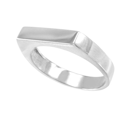 Stackable 925 Sterling Silver Custom Engravable Flat Top Signet Ring (Size 5.5)