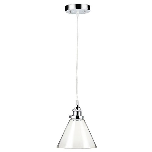 Lightess Glass Pendant Light Vintage Industrial Edison Metal Shape Adjustable Cable Hanging Ceiling Mounted Lighting (Chrome) by LIGHTESS