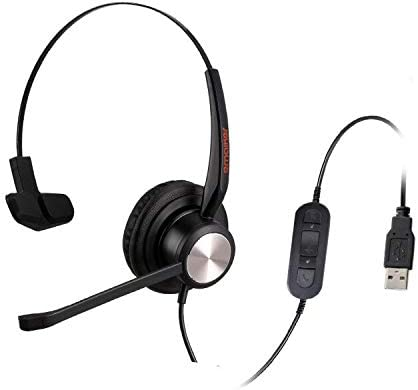 emaiker 1 Ear USB HeadsetNoise Cancelling Microphone PC HeadphoneMic Mute Volume Call Control for Office Call Center Skype Chat Teams Zoom Dragon Voice Recognition Speech Dictation
