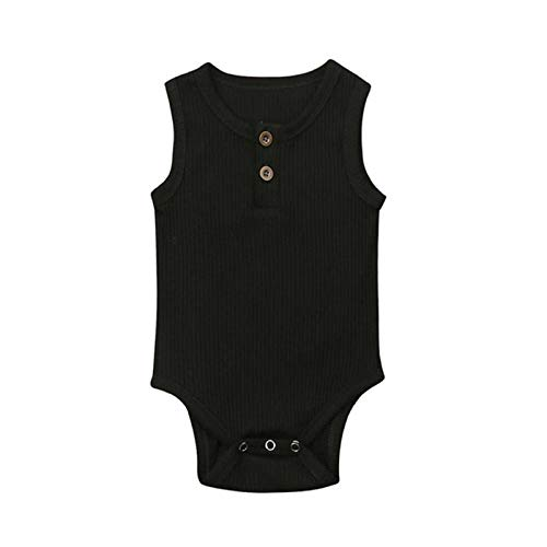 Clearance! Newborn Baby Girl Summer Cotton Sleeveless Romper Bodysuit Button Solid Stripe Outfits Jumpsuit 0-24 Months