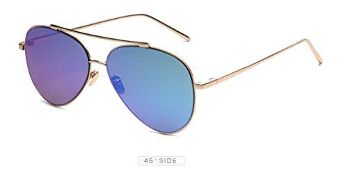 Aoligei Lunettes de soleil mode lunettes de soleil métal rond côté fleur couleur tendance lunettes de soleil rétro 5FGNsq