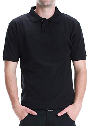 ALL Polo Men's Short Sleeve 3 Button Plain Polo Shirts for Men, Size 5X Large, Black (Chest32)