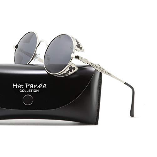 Argent soleil de Noir Homme Lunettes Hat Panda APwxa0T