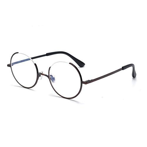 SO SMOOTH WIND Glasses Frame Three Fourths Round Retro Eyeglasses Gap design Prescription Eyewear Frame R1105 (Bronze, Demo clear - Titanium Frames Round Eyeglass
