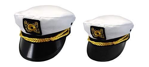 Adult Child Mens Womens Ship Navy Officer Yacht Sea Skipper Captain Hat Cap Set ()