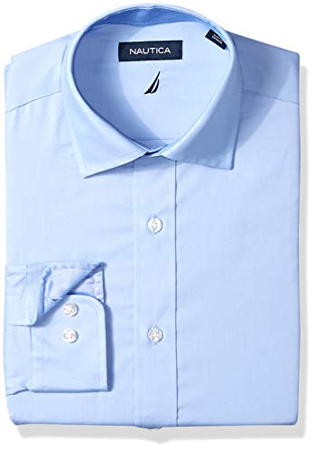 (Nautica Men's Classic Fit Spread Collar Dress Shirt, Light Blue Solid 16 32/33)
