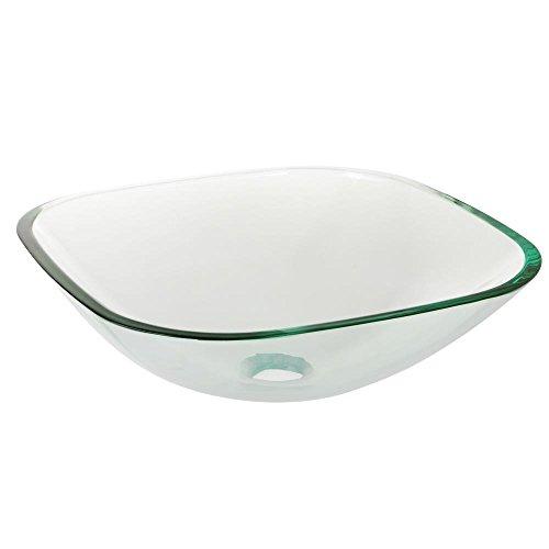 Aquaterior Bathroom Tempered Glass Vessel Sink Natural Clear Square Shape Transparent Basin by Aquaterior