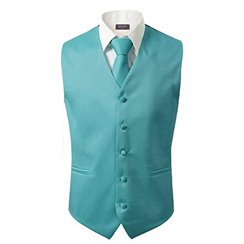 (3 Pcs Vest + Tie + Hankie Men's Fashion Formal Dress Suit Slim Tuxedo Waistcoat Coat (Medium,)
