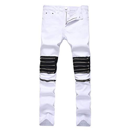 Casual Tinta Alta Jeans Unita Bianca Especial Pantaloni Moda Elasticizzati Bassa Da A Estilo Uomo Uomo Vita CqXfOT
