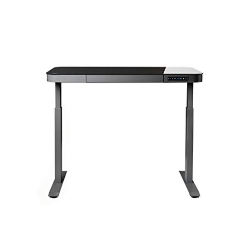 Seville Classics AIRLIFT Tempered Glass Electric Standing Desk with Drawer, 2.4A USB Ports, 3 Memory Buttons (Max. Height 47'') Dual Motors, Gray with Black Top by Seville Classics (Image #5)