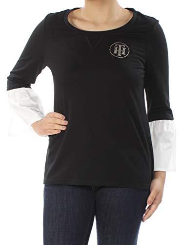 - Tommy Hilfiger Womens Embellished Logo Blouse Black S