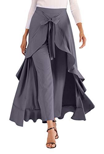 High Waist Ruffle Pant Skirt for Women Stylish Tie Waist Long Trousers Zipper Chiffon Comfortable Skirt Grey Large