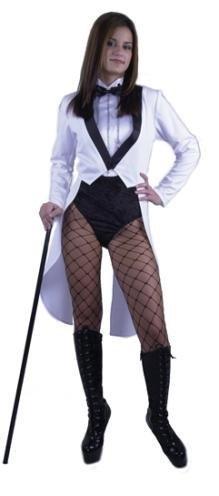 Women's Large 11-13 Miss Formalities White Tuxedo With Black Bodysuit -