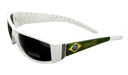Brazil Design White Frame/Black Lens 60mm Sunglasses Item # - Sunglasses Brazil