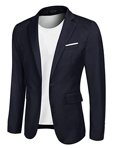 COOFANDY Men's Casual Blazer Jacket Slim Fit Sport Coats Lightweight One Button Suit Jacket Navy Blue