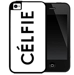Celfie Word in Black Uppercase Letters with White Background 2-Piece Dual Layer High Impact Black Silicone Cell Phone Case Cover iPhone 4 4s
