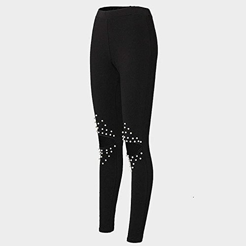 Largos Casual Azul Oscuro Modernas Tendencia HaiDean Trousers Elegante Pantalones Treggins Fit Verano Lápiz Slim Agujeros Mujer Skinny Fashion Rosario Vaqueros RUOUtq