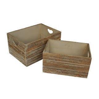 Red Hamper Set of 2 Oak Effect Heart Cut Handle Wooden Storage Crate