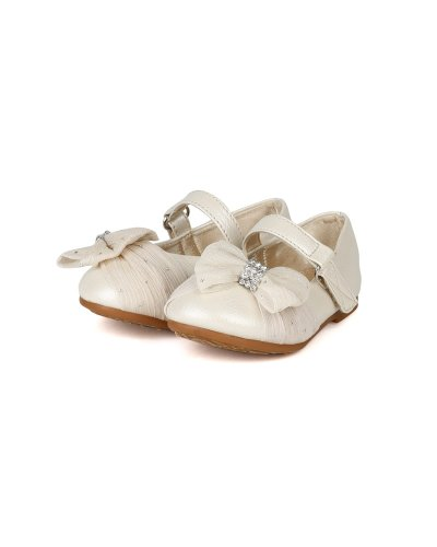 JELLY BEANS Limasa Leatherette Fabric Bow Rhinestone Mary Jane Dressy Ballerina Flat (Toddler) AH36 - Pearl (Size: Toddler 4) by JELLY BEANS (Image #4)