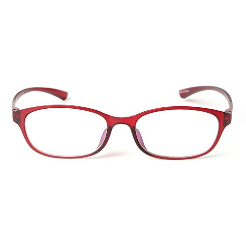MIDI Colors Blue Light Blocking Oval Reading Glasses for Women (M-210) Blue Light Filter Readers 1.0 1.5 2.0 2.5 3.0 (+1.00, Dark Red)(m210c6100) ()