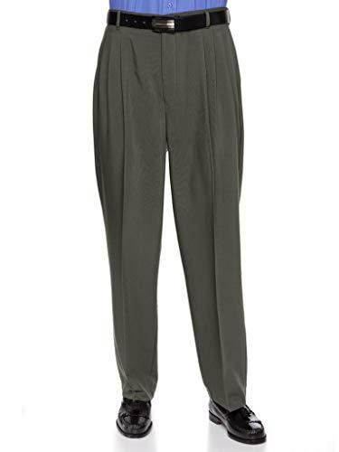 RGM Mens Dacron Rayon Pleated Front Dress Pants Olive 34 Short