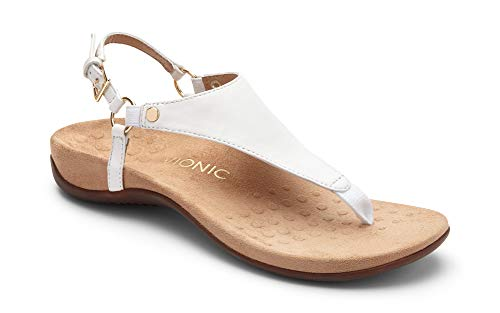 Vionic Women's Rest Kirra Backstrap Sandal - Ladies Sandals with Concealed Orthotic Arch Support White 8M - Ladies Leather Thong