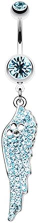 - Aqua 1.6mm 14 GA Jeweled Angel Wing Sparkle Belly Button Ring Sold Individually