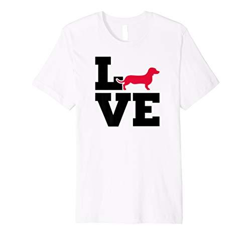 T-shirt Dachshund Fitted - Dachshund Wiener Dog Tee Shirt - LOVE Fitted T-Shirt