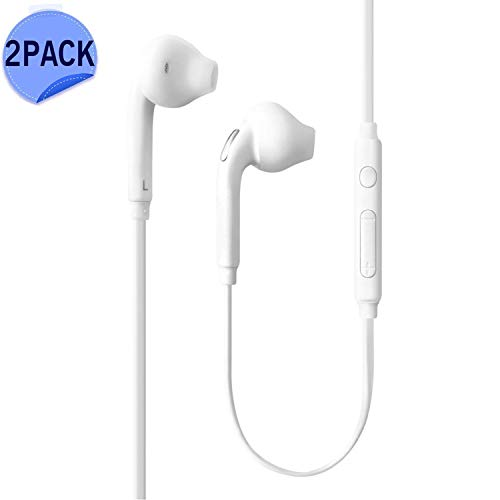Headphones/Earphones/Earbuds, (2 Pack) Sobrilli 3.5mm Aux Wired in-Ear Headphones with Mic and Remote Control Compatible with Galaxy S9 S8 S7 S6 S5 S4 Edge + Note 4 5 6 7 8 9 and More Android Devices