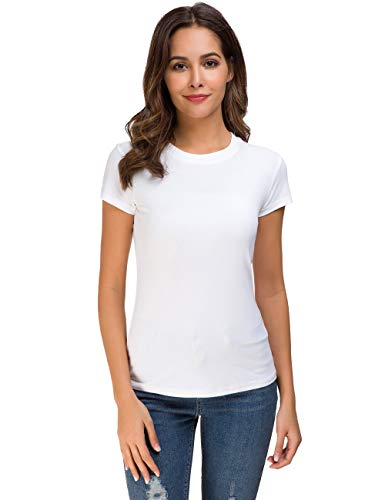 Acacia Flowers Women's Knitting Casual Short Sleeve Tight Top White Crew Neck Tee, Large
