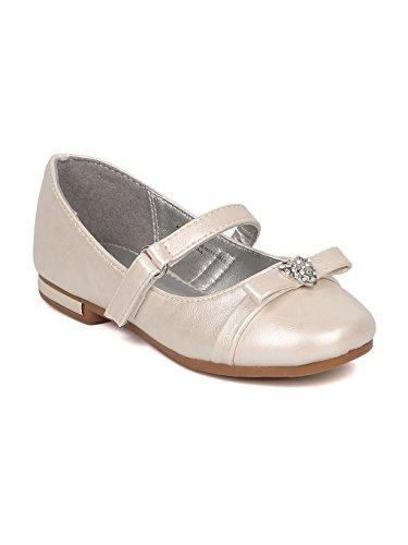 Alrisco Girls Rhinestone Heart Bow Tie Mary Jane Ballet Flat HB73 - Ivory Leatherette (Size: Toddler 8) -