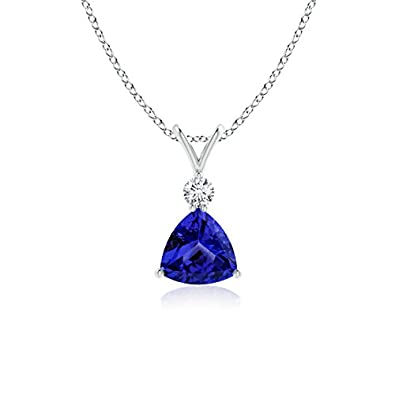 Angara Solitaire Tanzanite V-Bale Necklace in 14k White Gold
