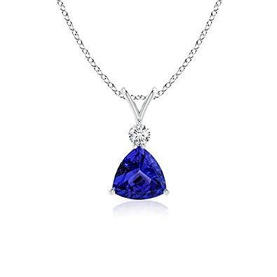 Angara Solitaire Diamond V-Bale Tanzanite Necklace in 14k White Gold xmDOwSqx0