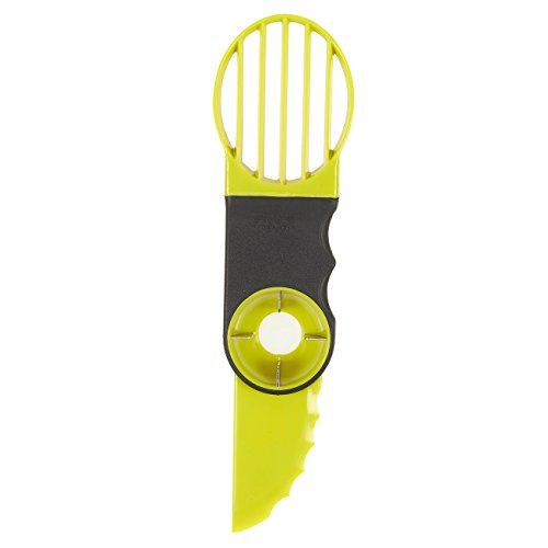 3 in 1 Avocado Slicer - Grips Avocado Tool, Slicer Knife, Peeler and Cutter, Plastic Corer with Comfort Grip Handle - Easy Removing Pit - Green, 8.7 x 0.6 x 2.3 Inches