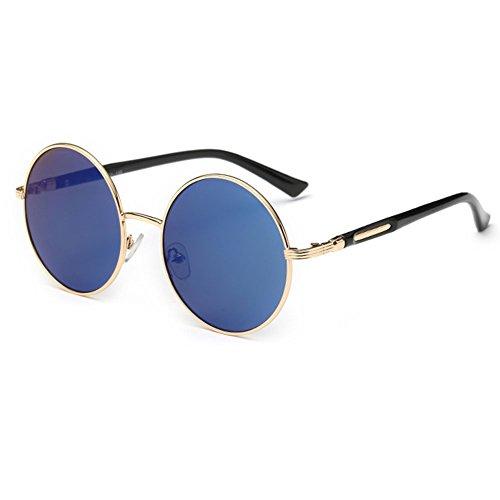 sol Redondo de retro UV400 601 Lente linyuan nbsp;Mujer vintage Classic Gafas funda azul qXpRYt