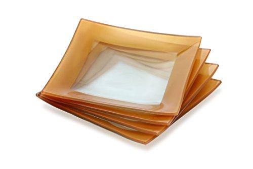 Kathryn Kathryn Square - GAC Elegant Designed Square Tempered Glass Dessert Plates Set of 4 - Break and Chip Resistant - Oven Proof - Microwave Safe - Dishwasher Safe 6 Inch