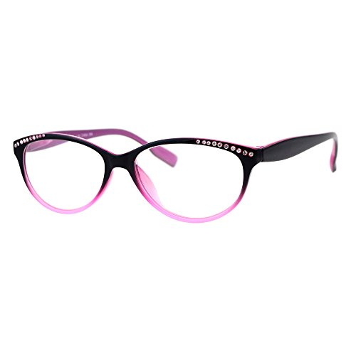 Pink Rhinestone Reading Glasses - Womens Rhinestone Narrow Oval Plastic Cat Eye Reading Glasses Black Pink +1.5