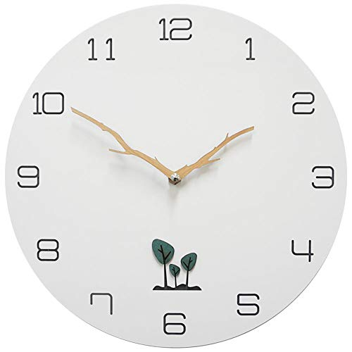 Clock Wall Cat Metal (LightScape Decorative Non Ticking Silent Analog Wooden Wall Clock, Battery Operated, 12 inch, White)
