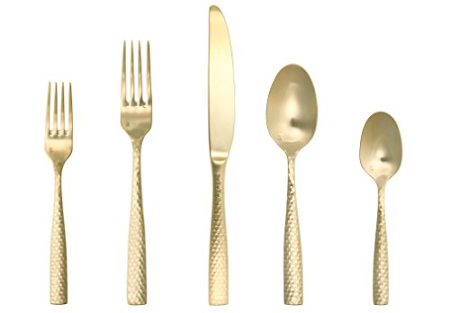 Fortessa Lucca Faceted 18/10 Stainless Steel Flatware, 5 Pie