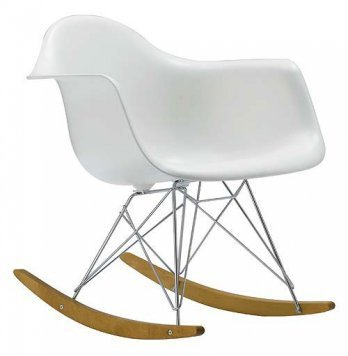 HomeCraft Eames Style Molded Modern Plastic Armchair-Rocking Mid Century Style Lounge Cradle Arm Chair-Contemporary Accent Retro Rocker Chrome Steel Eiffel Base-Ash Wood Rockers-Nursery Living Room-Matte Finish in White HCD