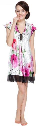 - Lavenderi Women's Printed Satin Nightgown (XX-Large, Dot)